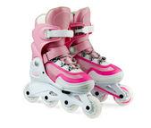 Roze inline rollerskates geïsoleerd op wit — Stockfoto