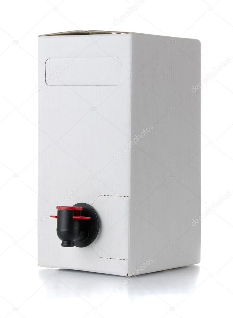 Cardboard blank wine box isolated on white  Stockfoto #6459418