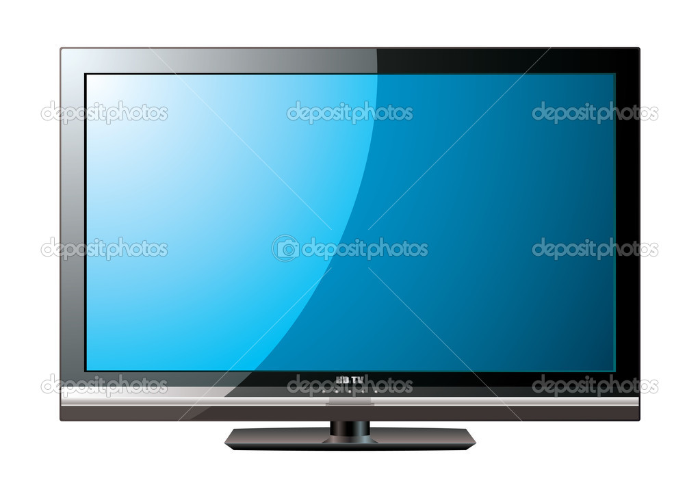 Modern flat screen television with blue monitor — Stock Vector #5571830