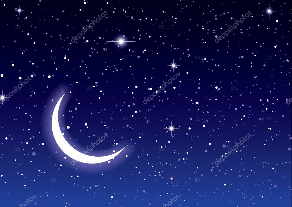 Nights sky with moon and stars ideal desktop or background — Stock Vector #5827024