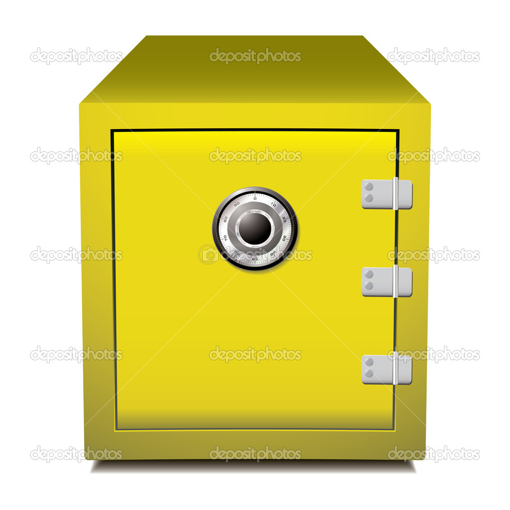 Gold metal secure business safe with dial  Stock Vector #5989421