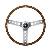 Old fashioned steering wheel — Stock Vector