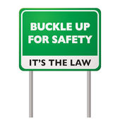 Buckle up road sign — Stock Vector
