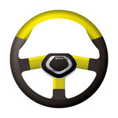 Sports steering gold wheel — Stock Vector