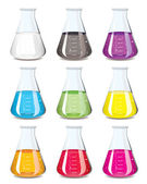 Chemistry flask collection — Stock Vector