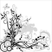 Floral composition from white and black — Stock Vector