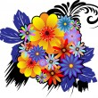 Bouquet of colorful ornamental flowers - Stock Vector