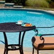 Breakfast by the pool on sunny day — Stock Photo #6214194