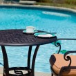 Breakfast by the pool on sunny day — Stok fotoğraf