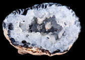 Interior of a geode quartz crystal rock — Stock Photo