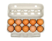 Dozen eggs in carton — Stock Photo