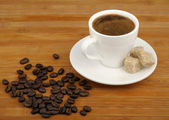 Coffee, sugar cane and coffee beans — Stock Photo