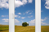 View from the window: rural landscape — Stock Photo