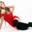 Beautiful pretty woman posing in red dress. — Stock Photo #6346473