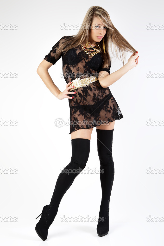 Young woman posing in black dress. — Stock Photo #6346726