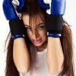 A young woman boxer. — Stock Photo