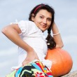 Beautiful woman with pumpkin. - Stok fotoğraf