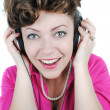 Lady listening to music — Stockfoto