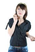 黒の t シャツの女性 — ストック写真