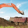 Stock Photo: Excavator loader and dumper truck