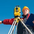 Surveyor theodolite works — Stock Photo