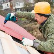 Roofing works with screwdriver — 图库照片