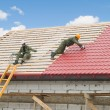 Roofing work with metal tile — Stockfoto #5419338