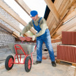 Stock Photo: Builder roofer and wheel barrow with clay tile