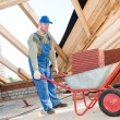 Stock Photo: Worker roofer and wheel barrow with clay tile