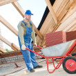 Worker roofer and wheel barrow with clay tile - Stock Photo