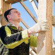 Builder working with level and timber board - Stock Photo