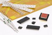 Micro electronics element and board — Stock Photo