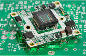 Microchip board with sensor — Foto Stock