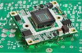 Mikrochip-platine mit sensor — Stockfoto