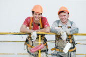 Happy builder facade painters — Stock Photo