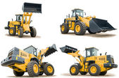 Set of wheel loaders isolated — Stockfoto