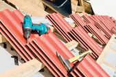 Red Clay tile roof and equipment — Stock Photo