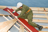 Worker at roofing works — Stock Photo