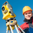 Stock Photo: Surveyor theodolite worker
