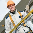 Happy facade builder worker — Stock Photo