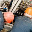 Royalty-Free Stock Photo: Electricians at wire installing work