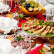 Catering food table set decoration — Stock Photo #5428240
