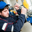 Maintenance engineer in boiler room — Stock Photo