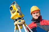 Surveyor theodolite worker — Stock Photo