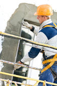Facade stopping and surfacer works — Stock Photo