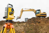 Surveyor theodolite on tripod — Stock Photo