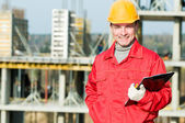 Smiling builder inspector worker — Stock Photo
