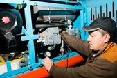 Repairman using manometer — Stock Photo