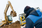 Land surveying with theodolite — Stock Photo