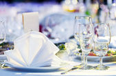 Close-up catering table set — Stock Photo